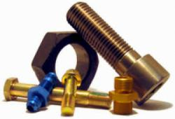 Arrangement of different screws and bolts used in military and aerospace applications.