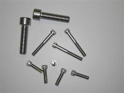 Variety of cap socket stainless steel screws in different sizes.